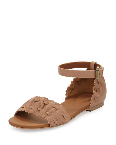 Jane Scalloped Ankle-Wrap Sandal