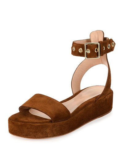 Suede Platform Sandal, Brown
