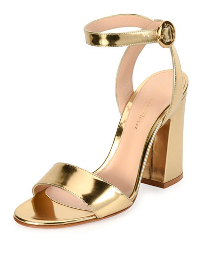Metallic Ankle-Wrap 100mm Sandal, Gold