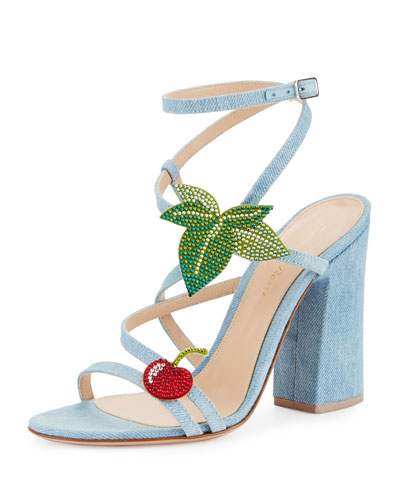 Cherry Denim Strappy 100mm Sandal, Blue