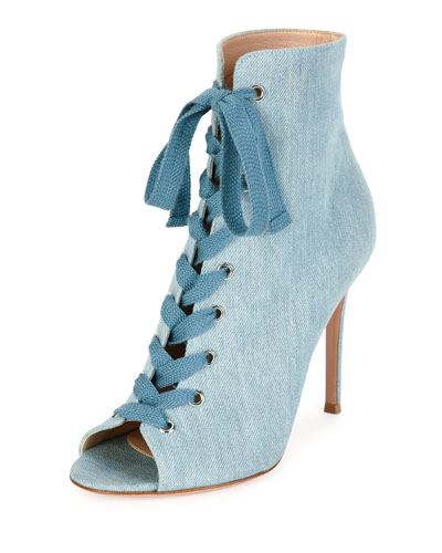Denim Open-Toe 105mm Bootie, Blue