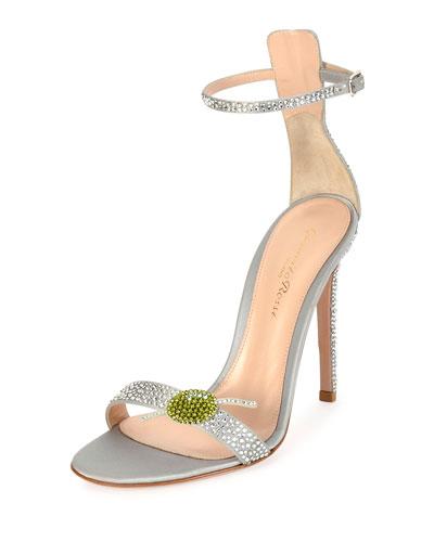 Martini Portofino Ankle-Wrap 105mm Sandal, Silver