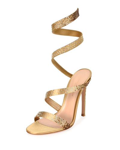 Snake Ankle-Wrap 105mm Sandal, Gold