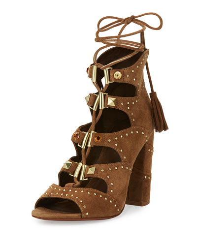 Alexa Studded Lace-Up Sandal, Brown