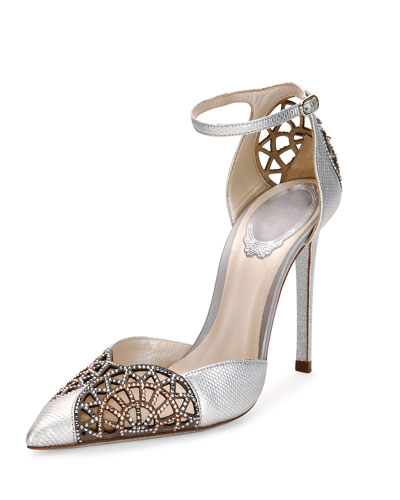 Crystal Snakeskin d'Orsay 105mm Pump, Silver/Rose Gold