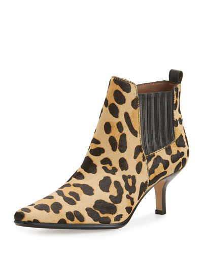 Latour Calf-Hair Pointed-Toe Bootie, Black/Leopard