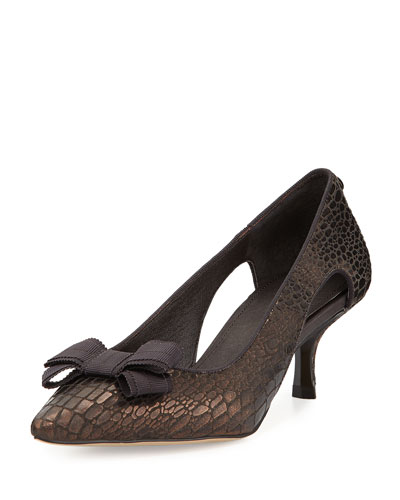 Dova Cutout Bow Kitten-Heel Pump, Bronze