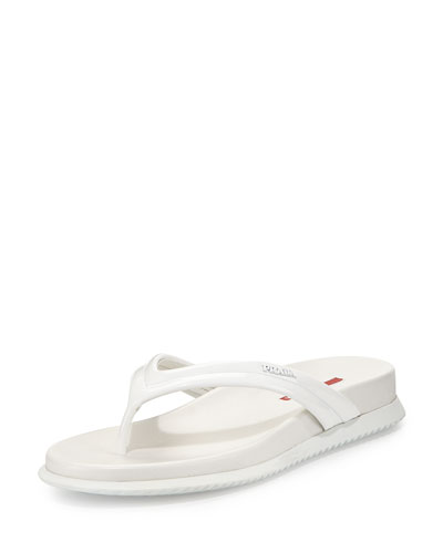 Patent Leather Thong Sandal, Bianco
