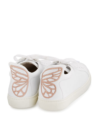 Bibi Butterfly Leather Low-Top Sneaker, White