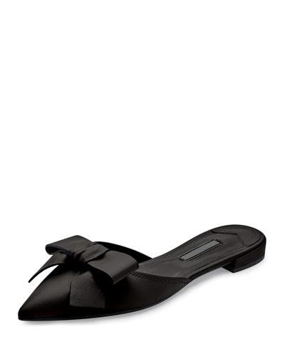 Pointed-Toe Bow Slide Flat, Nero