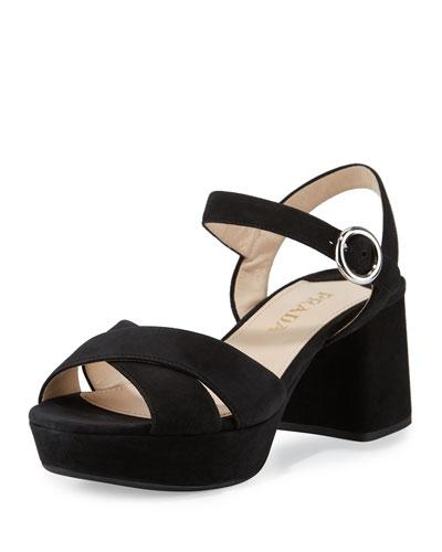 Suede Crisscross Ankle-Wrap 65mm Sandal, Neutral
