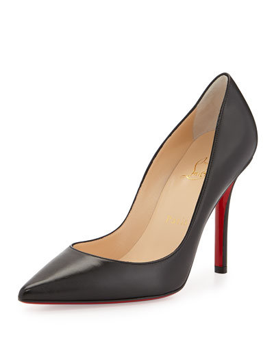 Apostrophy Pointed Red-Sole Pump, Black