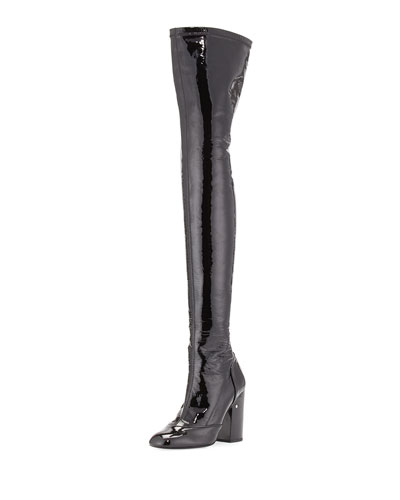 Madison Patent Over-The-Knee Boot, Black
