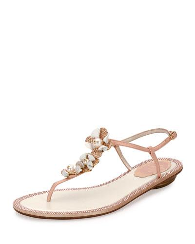 Floral-Embellished Crystal Thong Sandal, Nude
