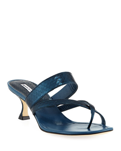 Susa Strappy Snakeskin Thong Sandal