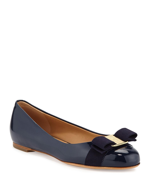 Varina Patent Bow Ballet Flats, Oxford Blue