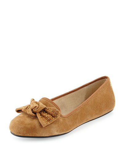 Alloway Stud-Bow Suede Flat, Camel
