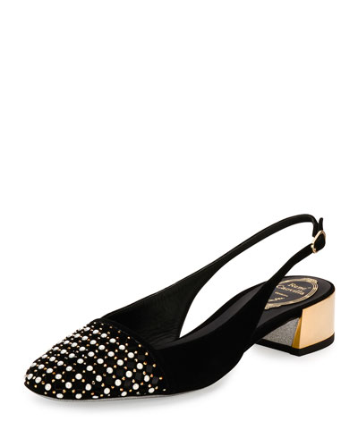 Pearly Laser-Cut Slingback 30mm Pump, Black