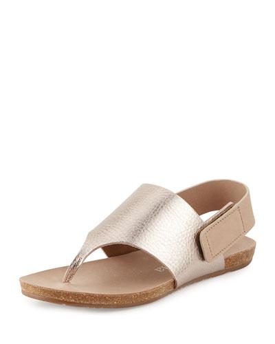 Jacquelyn Metallic Thong Sandal, Beige