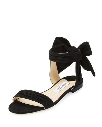 Kora Suede Ankle-Wrap Flat Sandal