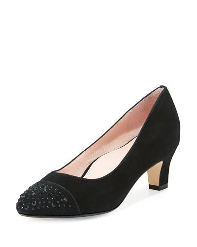 Trulie Crystal Suede Low-Heel Pump, Black