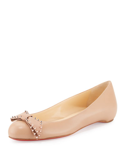 Ballalarina Spiked Bow Flat, Nude/Rose Gold