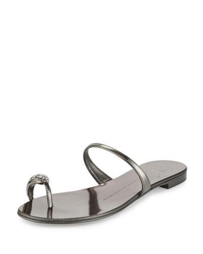 Metallic Crystal Toe-Ring Flat Sandal, Anthracite