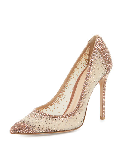 Rania Crystal Illusion 105mm Pump, Nude