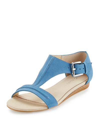 Bravo Suede T-Strap Demi-Wedge Sandal, Black