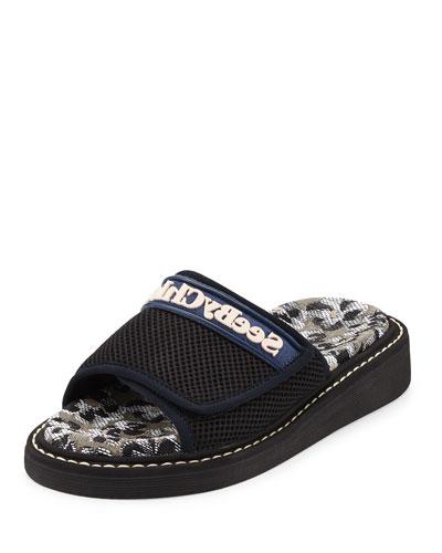 Mesh One-Band Slide Sandal, Black