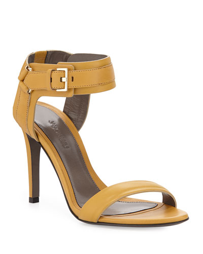 Leather Ankle-Cuff Sandals, Gold