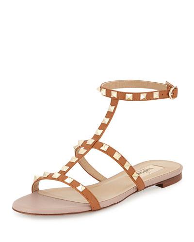 Rockstud Ankle-Strap Flat Sandal