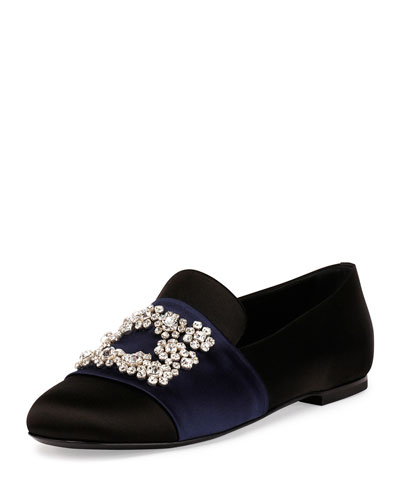 Floral-Strass Smoking Slipper, Black/Navy