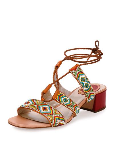 Beaded Lace-Up 45mm Sandal, Orange/Multi
