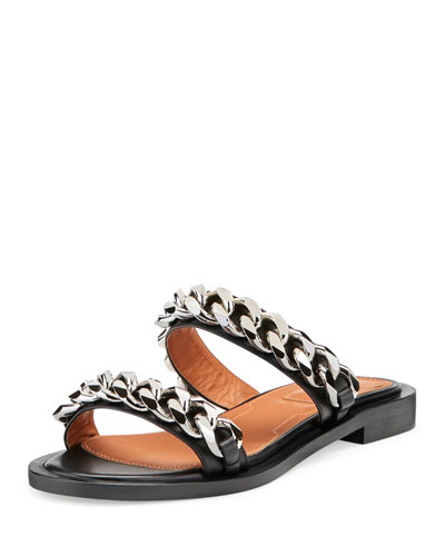 Double-Chain Flat Sandal, Black