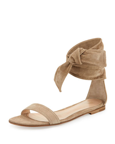 Beverly Suede Ankle-Tie Flat Sandal