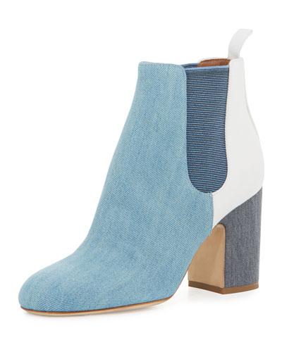Mia Patchwork Denim 85mm Chelsea Boot, Blue