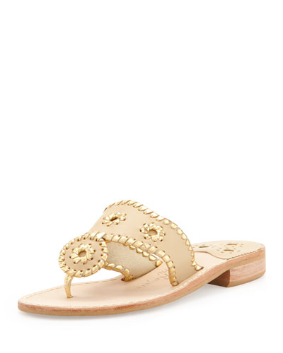 Nantucket Whipstitch Thong Sandal, Camel/Gold
