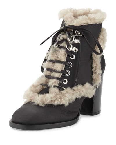 Manushka Shearling Fur Ankle Boot, Black/Gray