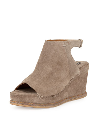 Aleria Allover Suede Wedge, Sand