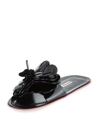 Runway Flower Flat Slide Sandal, Black/Rose