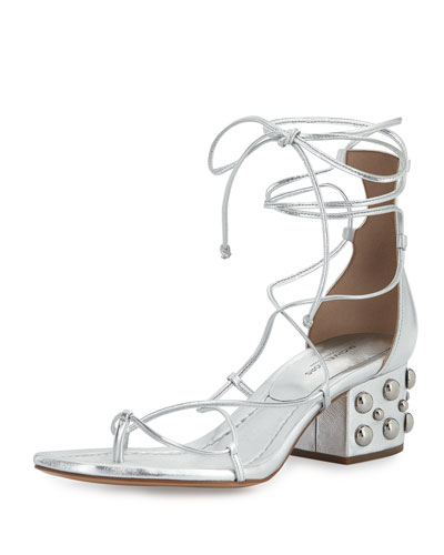 Ayers Leather Lace-Up Sandal, Silver