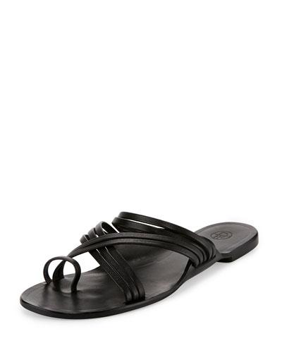 Cannes Strappy Flat Sandal, Black