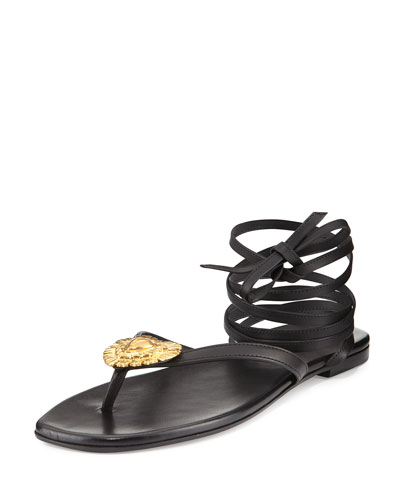 Pieds Nus Leather Ankle-Wrap Sandal, Black (Nero)