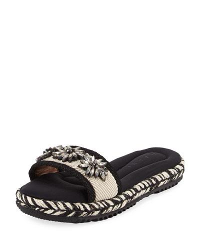 Jeweled Woven Flat Espadrille Slide Sandal