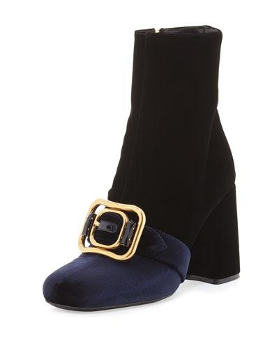 Bicolor Buckle-Strap Suede Boot, Black (Nero)