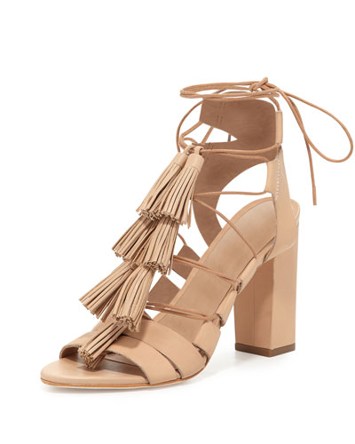 Luz Tassel Lace-Up Leather Sandal, Wheat