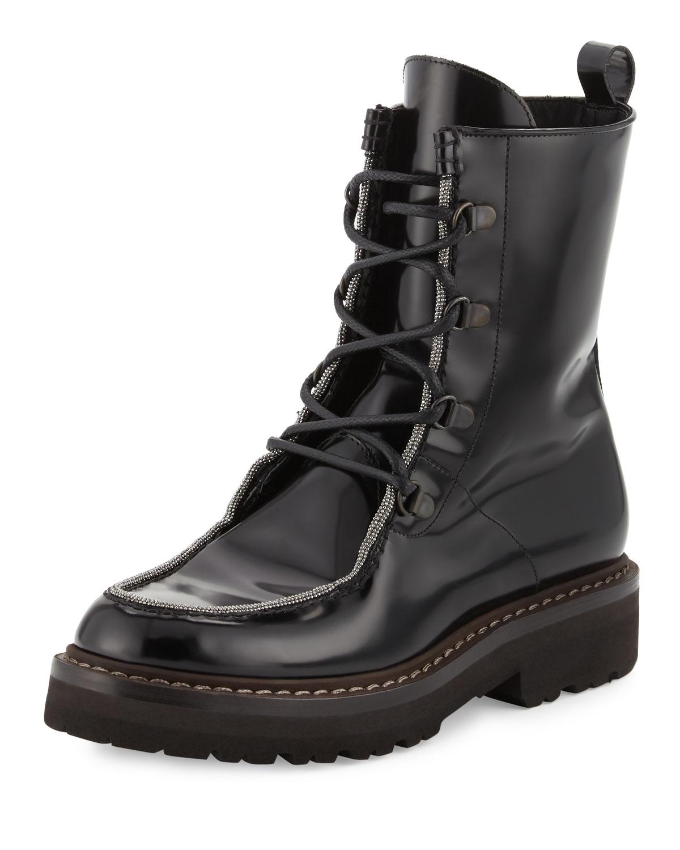 Monili-Trim Leather Combat Boot, Black