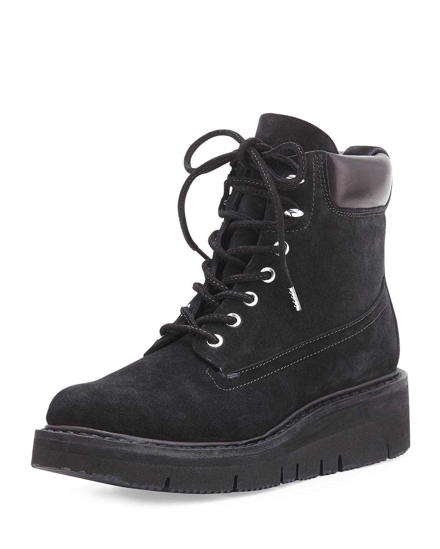 Camden Suede Combat Boot, Black