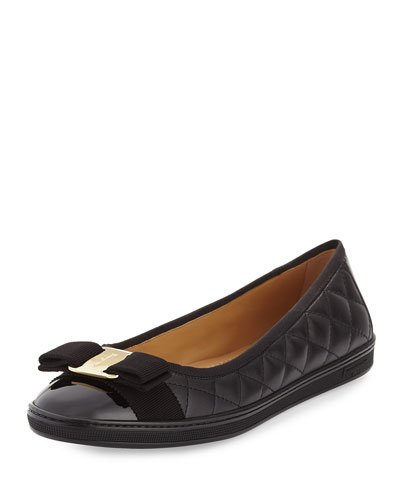 Quilted Ballerina Flat, Black